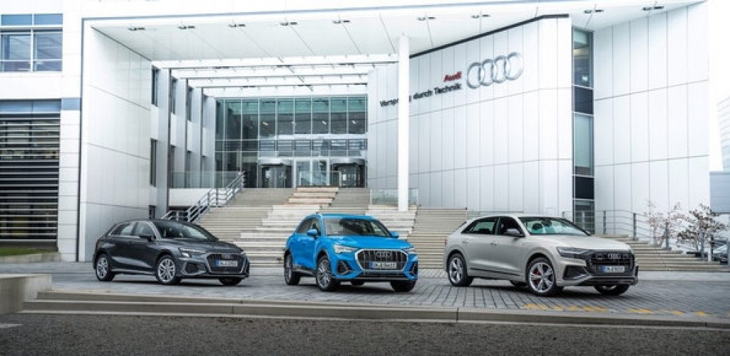 Audi has more than fulfilled its CO2 fleet target for Europe in 2020 on the basis of preliminary figures. With a calculated average of 101.5 g/km, the company lay well below the legally required value of 105.6 g/km. The Audi e-tron model line and plug-in hybrids of the brand have a positive effect on the fleet figures. In the picture:  Audi A3 Sportback 40 TFSI e: Combined fuel consumption in l/100 km: 1.5–1.4; combined electric power consumption in kWh/100 km: 13.8–13.0; combined CO2 emissions in g/km: 34–30  Audi Q3 45 TFSI e: Combined fuel consumption in l/100 km: 1.7–1.4; combined electric power consumption in kWh/100 km: 16.0–14.4; combined CO2 emissions in g/km: 39–32 Audi Q8 60 TFSI e quattro: Combined fuel consumption in l/100 km: 2.8–2.7 (84.0–87.1 US mpg); Combined electric power consumption in kWh/100 km: 22.9–22.6; Combined CO2 emissions in g/km: 63–62 (101.4–99.8 g/mi)