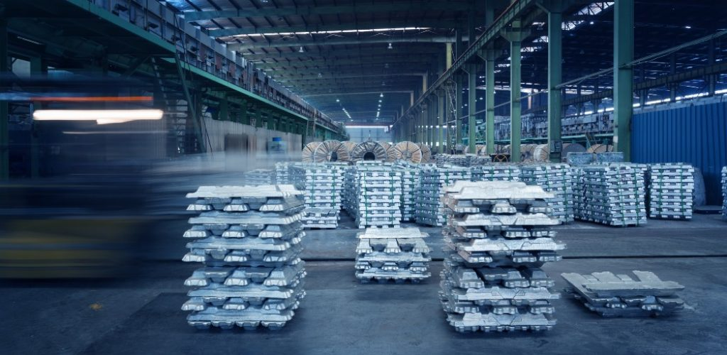 China Jiangsu metal processing plant workshop, a library of aluminum ingots