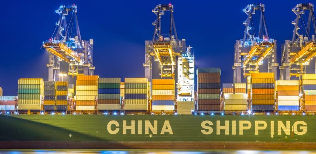 Container china shipping unloaded at automated harbor terminal in Maasvlakte Europoort port of Rotterdam, Netherlands