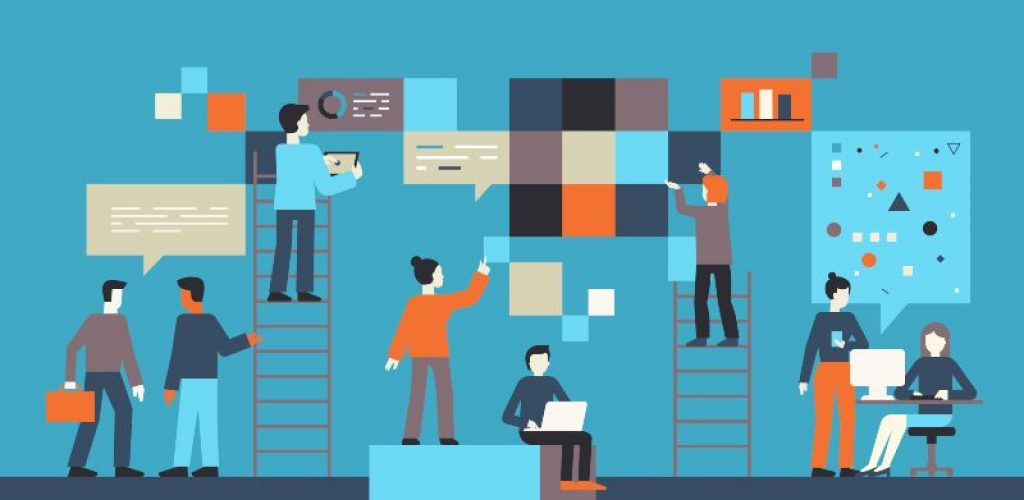 Vector illustration in flat simple style with small characters - app and software development concept - people working on abstract banners with data - team of computer programmers, graphic and interface designers, project managers
