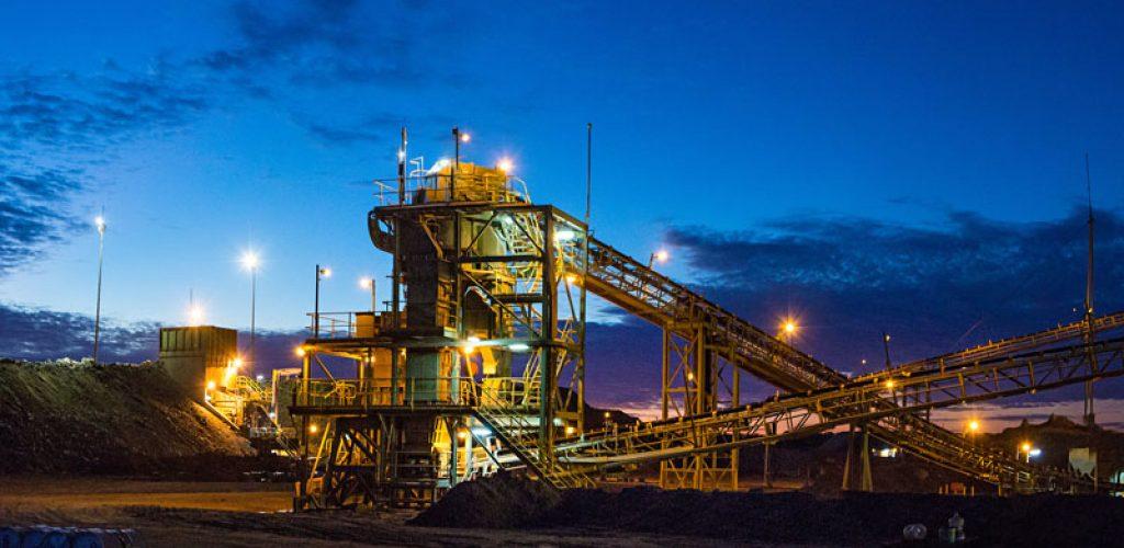 Night view of a copper mine head in NSW Australia