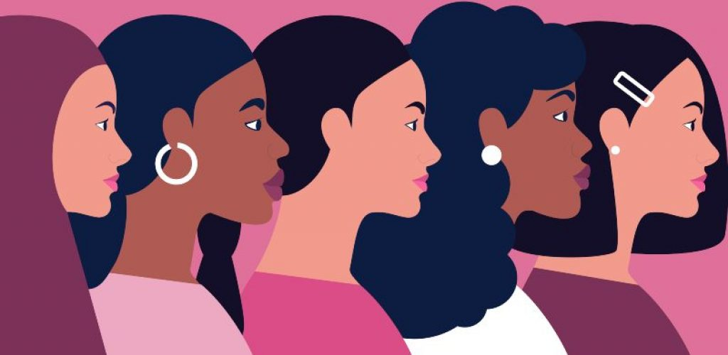 Group of different people standing together. Women power, feminism and body positive theme. Vector illustration in a flat style