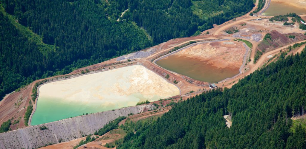 Mine waste pond at  ore processing