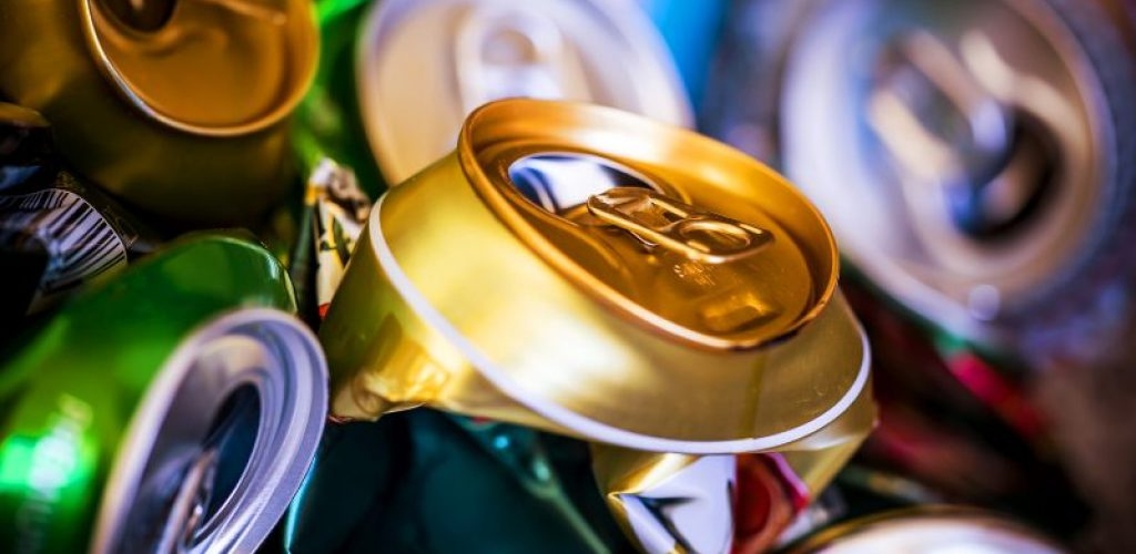 colorful crumpled empty beer cans