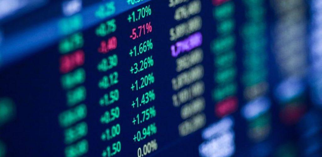 Stock exchange market chart, Stock market data on LED display. Business analysis concept.