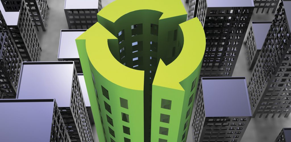 Sustainability Society concept with buildings in the icon of recycling