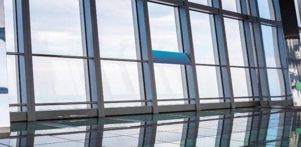 window in skyscraper , transparent modern viewing platform